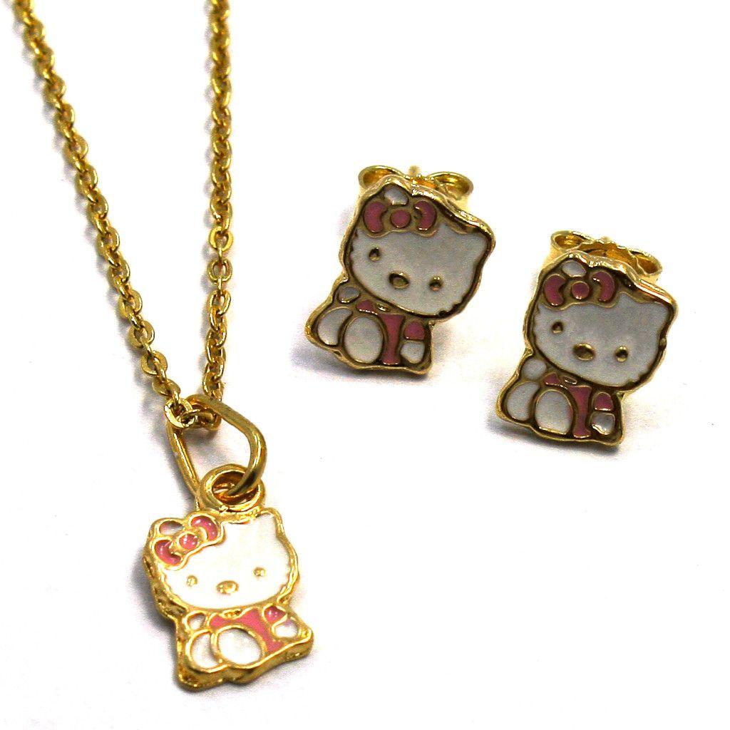 Kitty Gold 18k GF Necklace Pendant Earrings Baby Girl Kids Pink Enamel