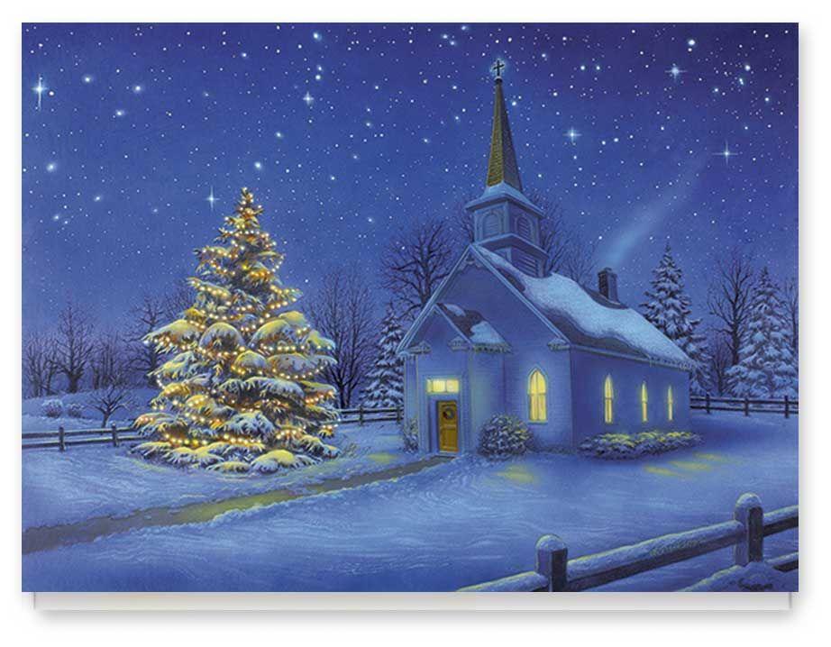 Country Church Christmas Card Set 20 by Miles Kimball