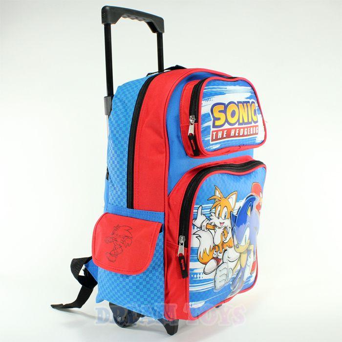 Sonic The Hedgehog Tails Knuckles 16 Large Roller Backpack Bag School