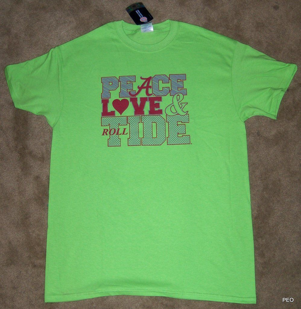 Alabama Crimson Peace Love Tide Lime Green T Shirt Roll Tee Bama