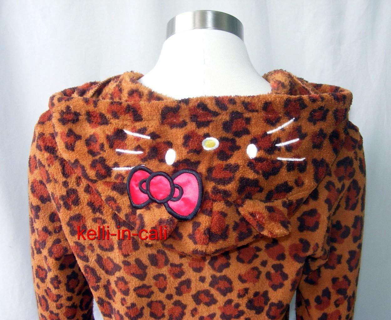 Hello Kitty Cat Face Ears Hood Plush Leopard Hoodie Jacket Halloween