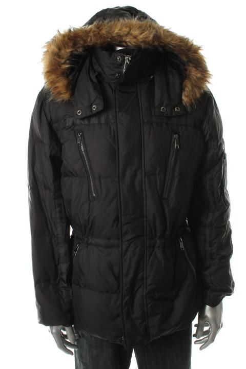 Marc New York New Black Quilted Double Zip Faux Fur Hooded Coat L BHFO