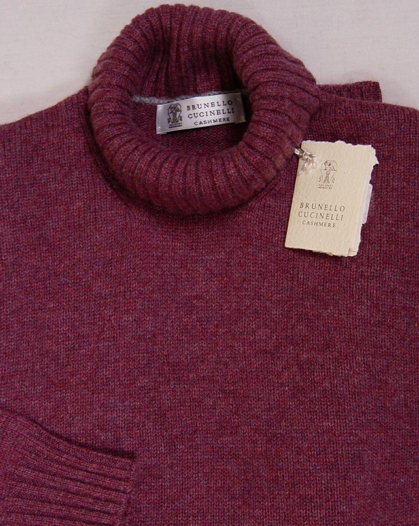 Brunello Cucinelli Sweater Merlot Gray 100 Cashmere Turtleneck Jumper
