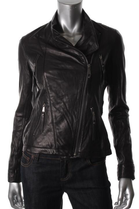 Michael Kors New Black Leather Lined Asymmetric Zip Up Motorcycle
