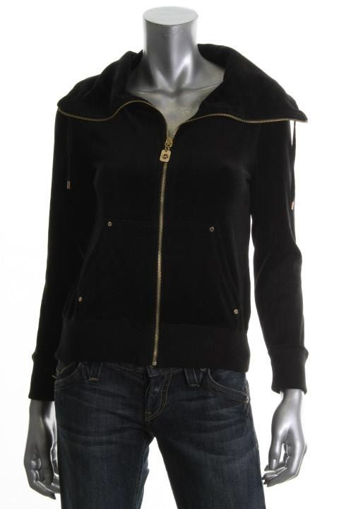 Michael Kors New Black Velour Ribbed Trim Funnel Neck Casual Top