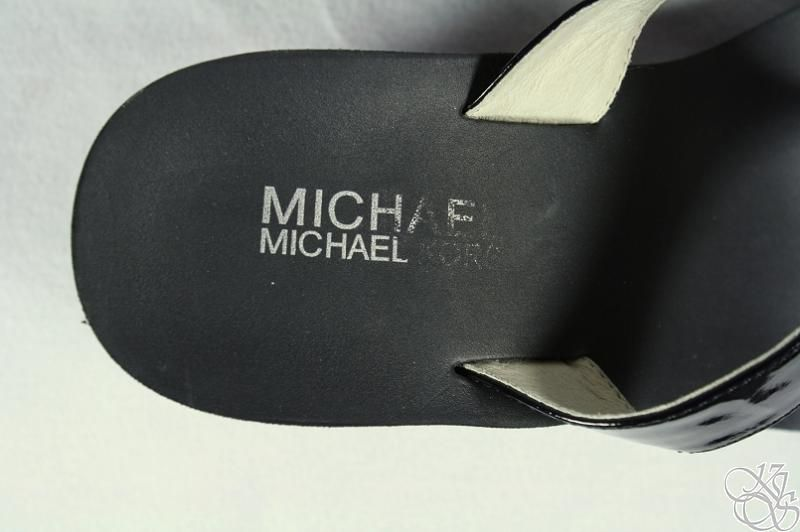 Michael Kors Warren Black Patent Logo Sandals Thongs Wedge Womens