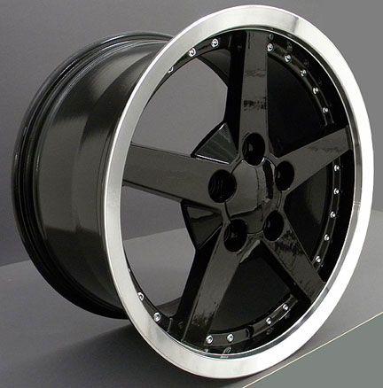 18 Black C6 Style Wheels & Tires Set of 4 Rims Fit Corvette C4 C5 C6