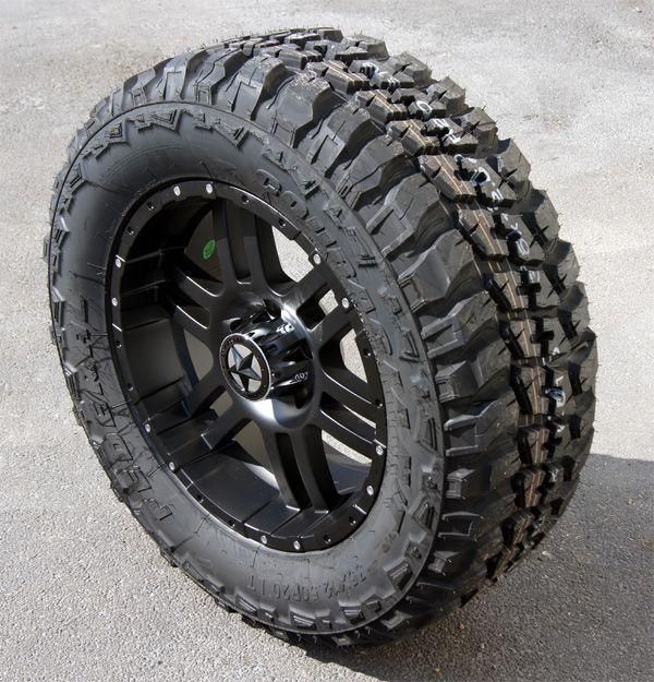 20 Flat Black Wheels Tires Dodge 1500 35x12 50x20