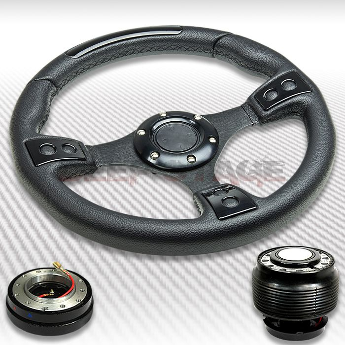 T380 PVC Leather Racing Sport Steering Wheel Hub Quick Release Civic