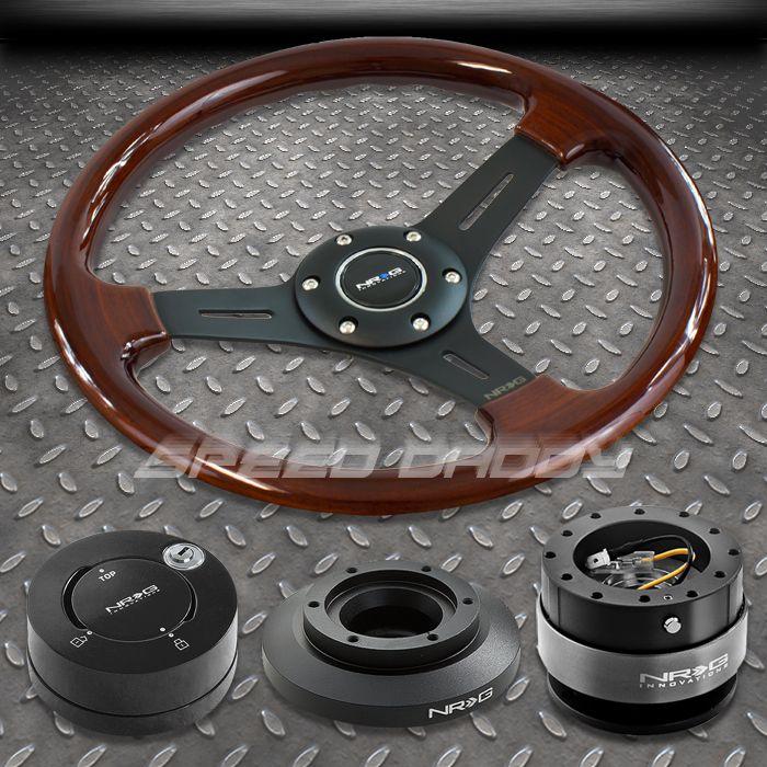 NRG Wood Steering Wheel Hub Black Quick Release 101MB Lock Kit 99 05
