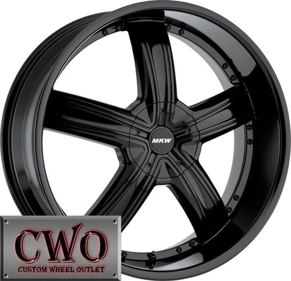 22 Black MKW M103 Wheels Rims 6x139 7 6 Lug Yukon Tahoe Titam Escalade