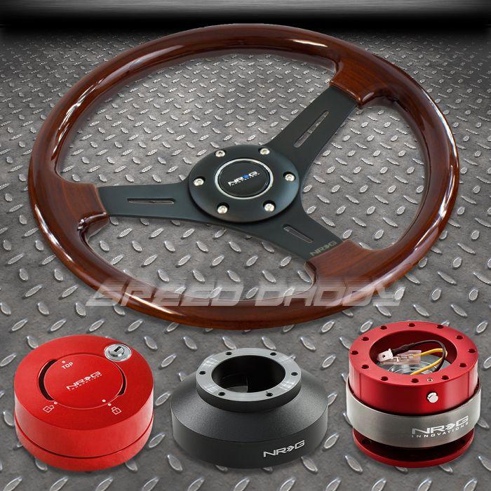 NRG Wood Steering Wheel Hub Red Quick Release Lock Kit 07 12 Impreza