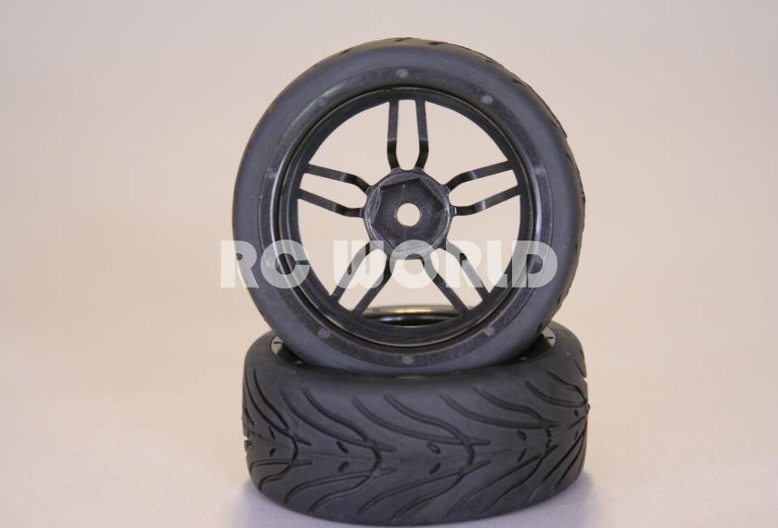 RC 1 10 Car Tires Gun Metal Wheels Rims Package Kyosho Tamiya HPI