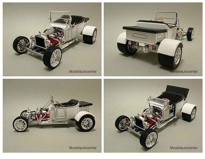 Ford T Bucket 1923 weiß Hot Rod, Modellauto 118 / Yat Ming