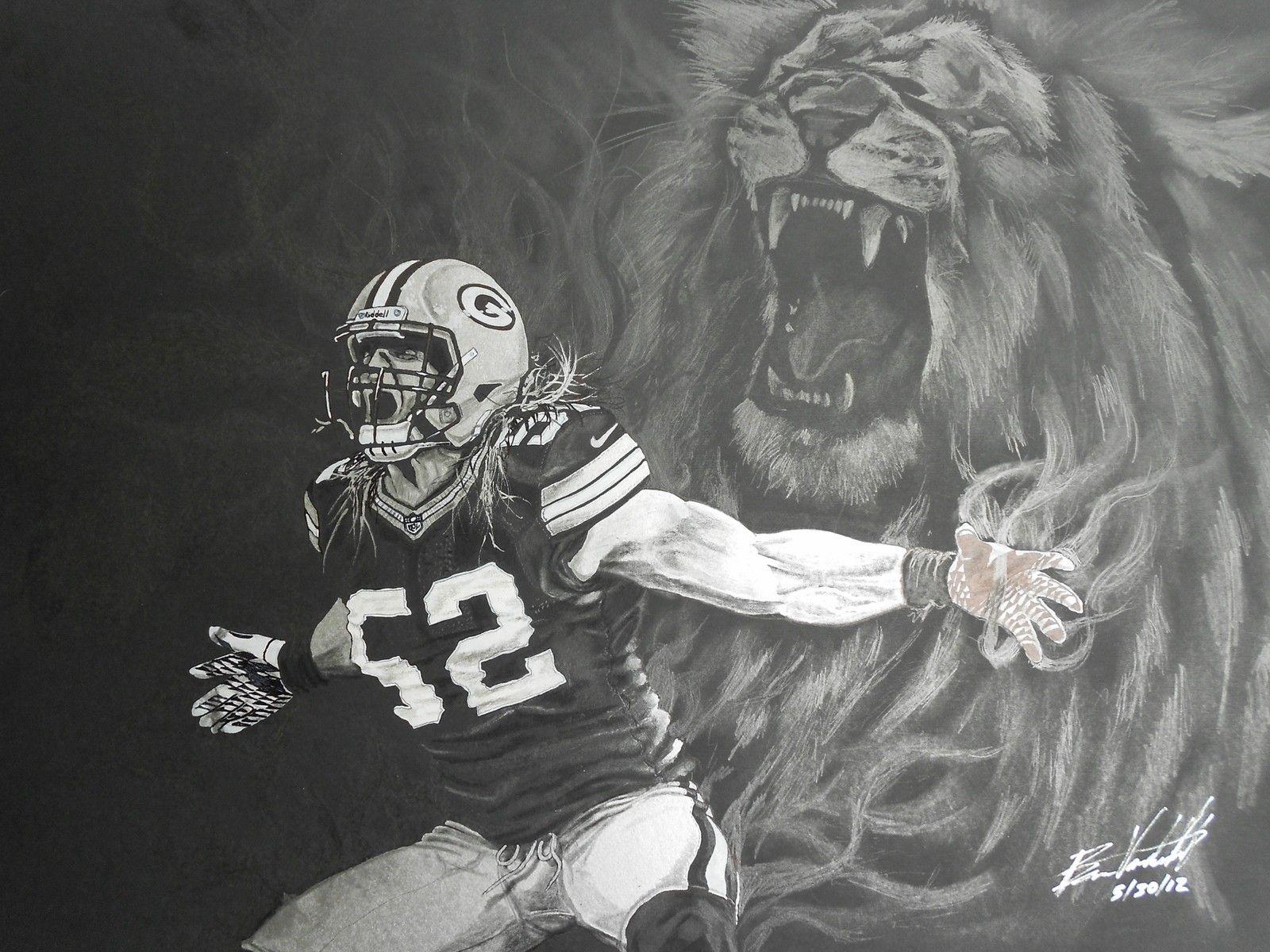 GreenBay Packers Original Artist drawing CLAY MATTHEWS by Artist Ben