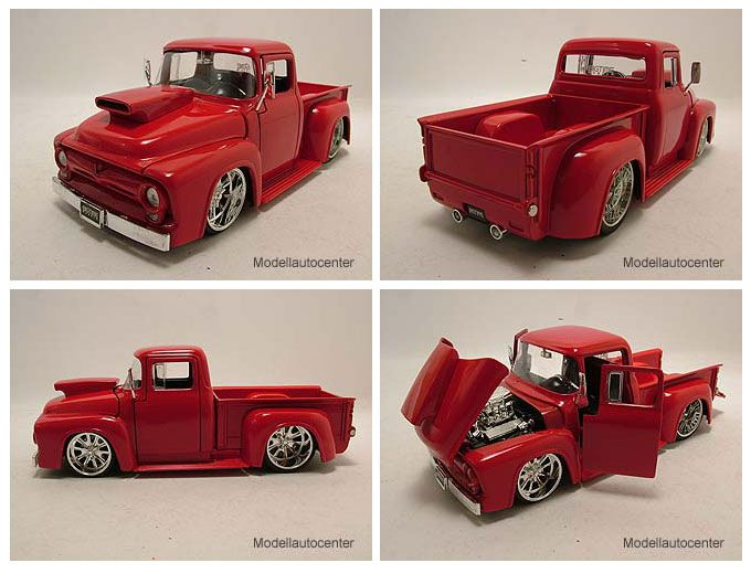 Ford F 100 1956 Pick Up rot Hot Rod / Tuning, Modellauto 124 / Jada