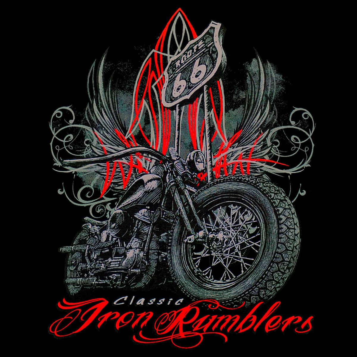 Biker Motorrad Chopper Oldtimer Bike Motorcycle T Shirt Route 66 *4296