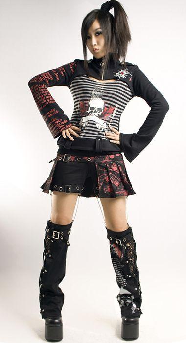 Visual Punk Rave Gothic Kera Skull Lolita Dolly cosplay rock coat