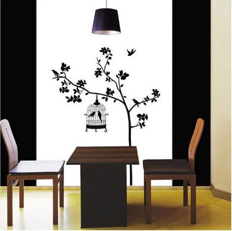 WALL VINYL DECO STICKER BIRD &TREE Wall Paper Art decal