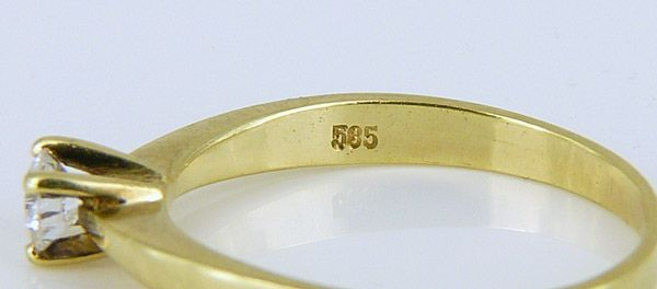 Brillantring Goldschmuck 585er Gold RING Solitär Brillant ca. 0,2
