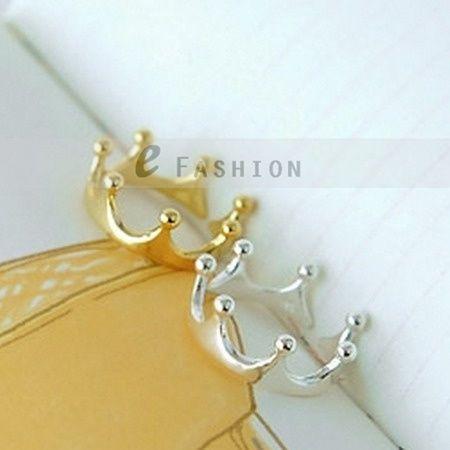 Ring Krone Style Ringe Damen gold silber Fingerring NEU 102 0003