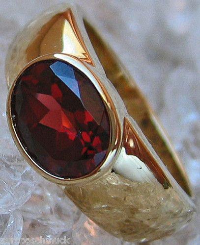 14kt 585 Gold Ring mit Granate Granat Schmuck Granatring Bandring 341