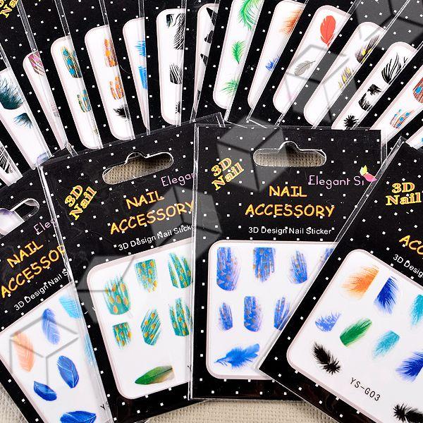 25x Nail Art Sticker Nagelsticker Nail Tattoos Federn Malerei Set