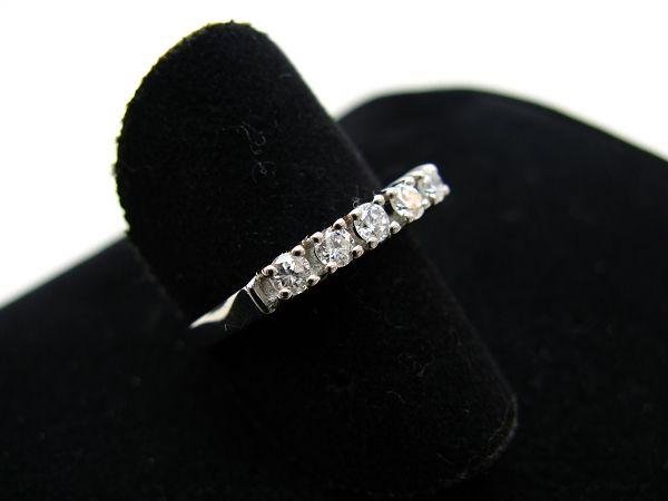 R860 585er 14kt Weißgold Ring klassisch und schmal mit 5 Brillanten