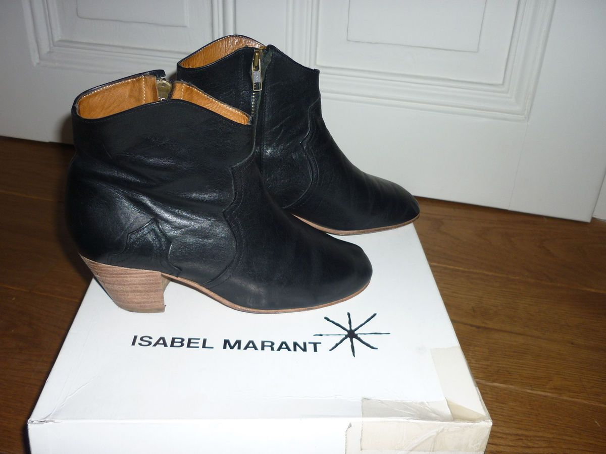 ISABEL MARANT DICKER BOOTS 37 LEATHER BOOTS STIEFELETTEN STIEFEL NOIR